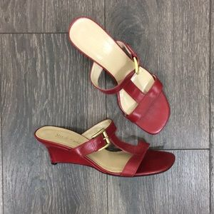 Max de Carlo Red Square Toe Sandal Wedges